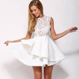 LF DESIGNER White Lace Layered Skater Dress